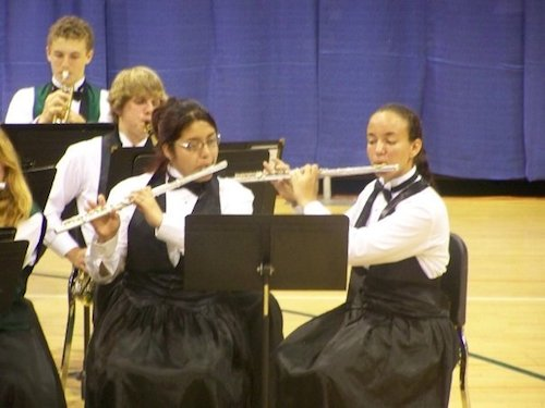 Jeanie, my fellow flautist, and me at a weird post-tour, pre-spring concert.